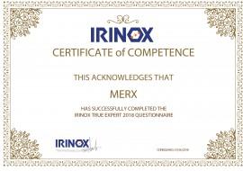 IRINOX TRUE EXPERT 2018 Certificate of Competence!